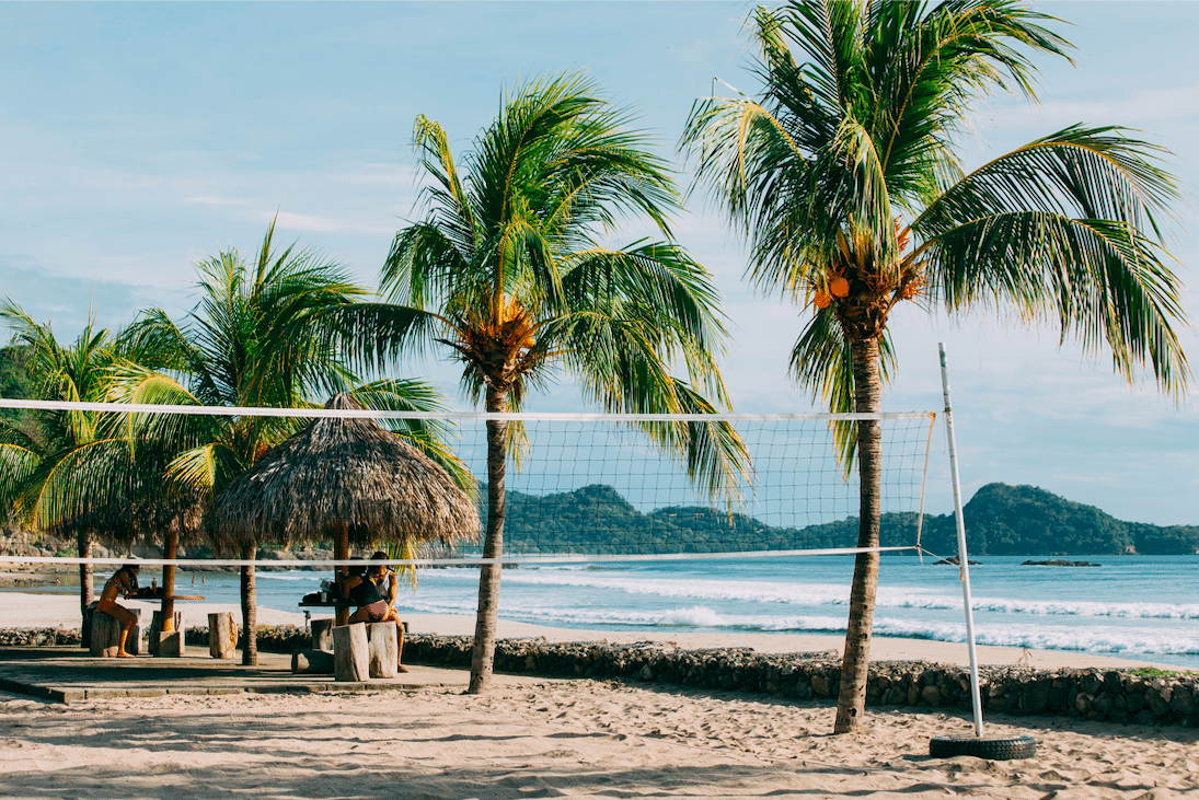 Palm trees on the sandy beach in Nicaragua